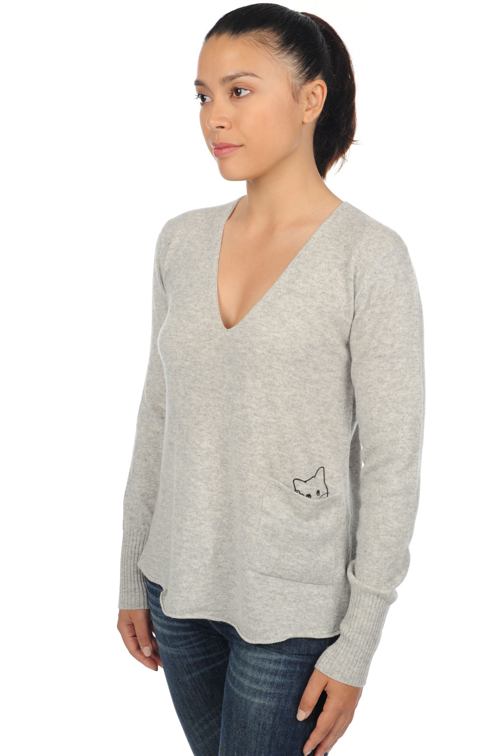 cashmere ladies v necks alwena flanelle chine l