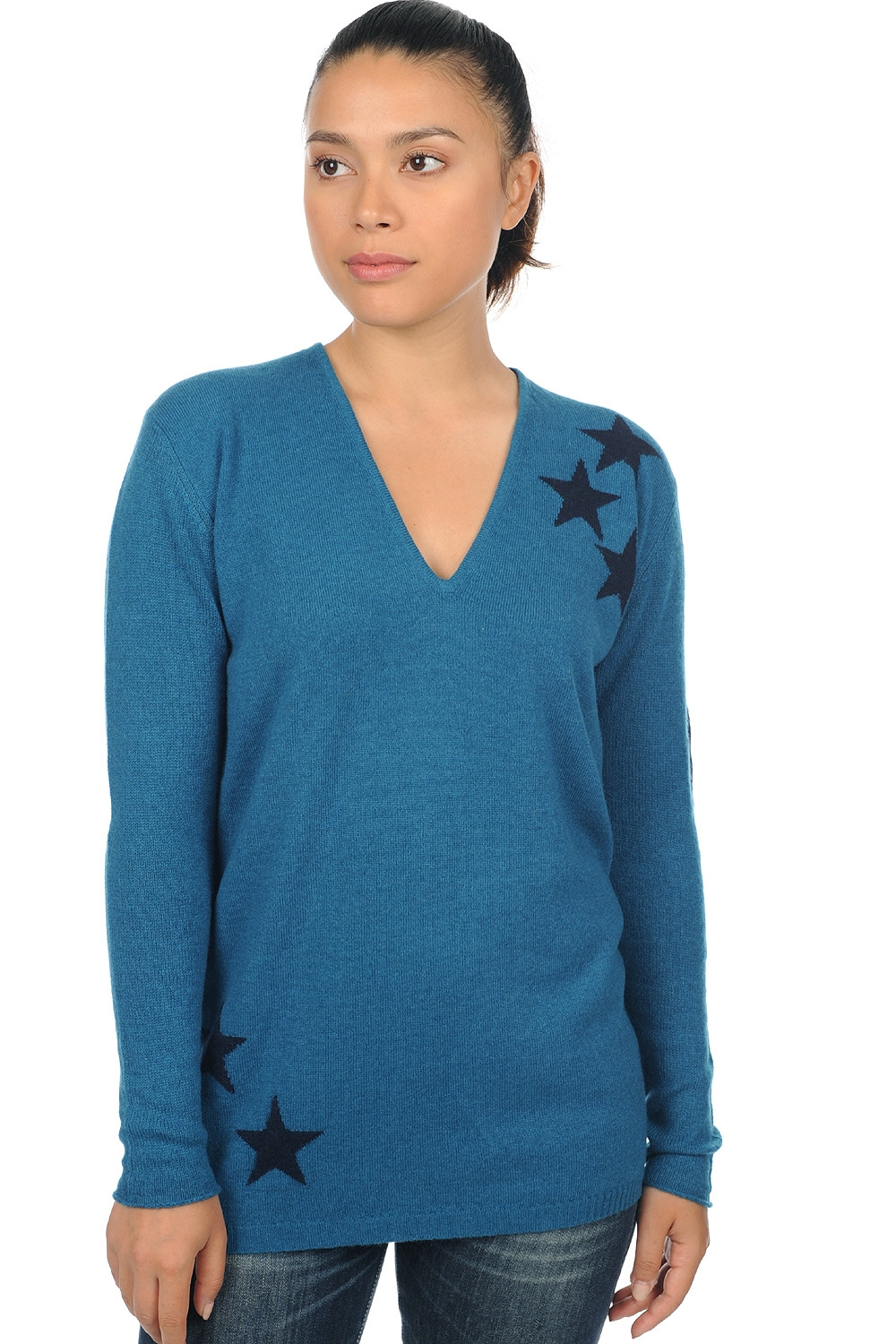 cashmere ladies v necks armel canard blue dress blue  stars xs