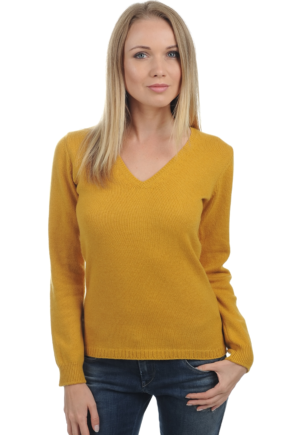 cashmere ladies v necks erine 4 ply mustard m