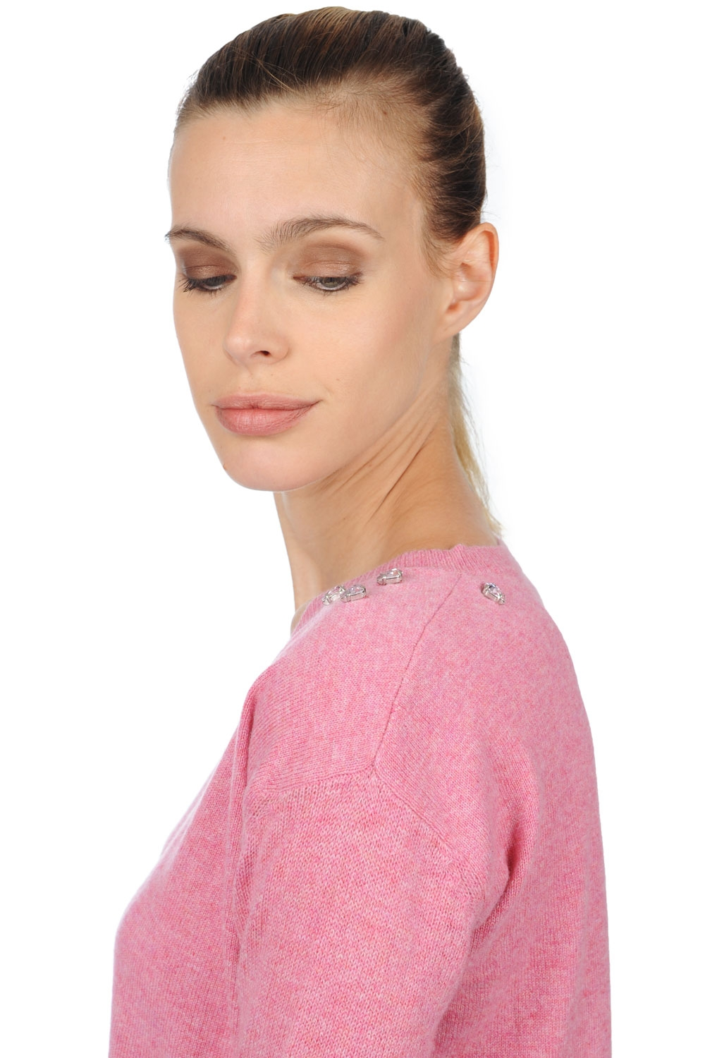 cashmere ladies v necks jewel bubble gum m