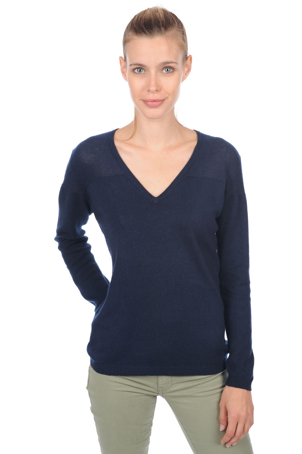 cashmere ladies v necks koala dress blue s