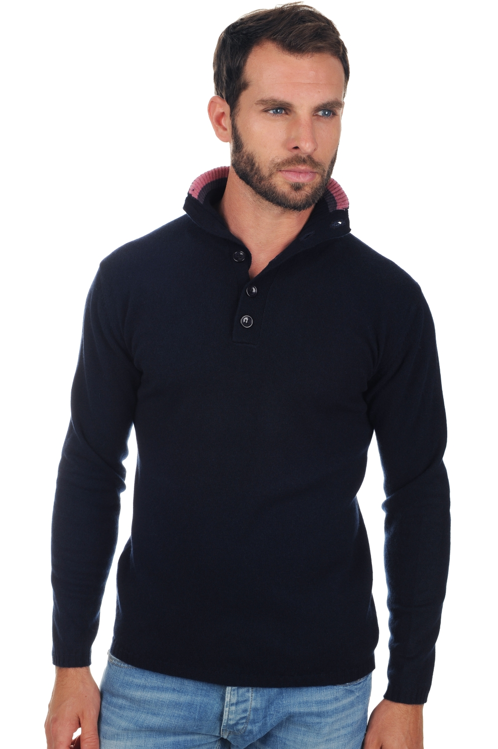 cashmere men polo style sweaters hani dress blues m