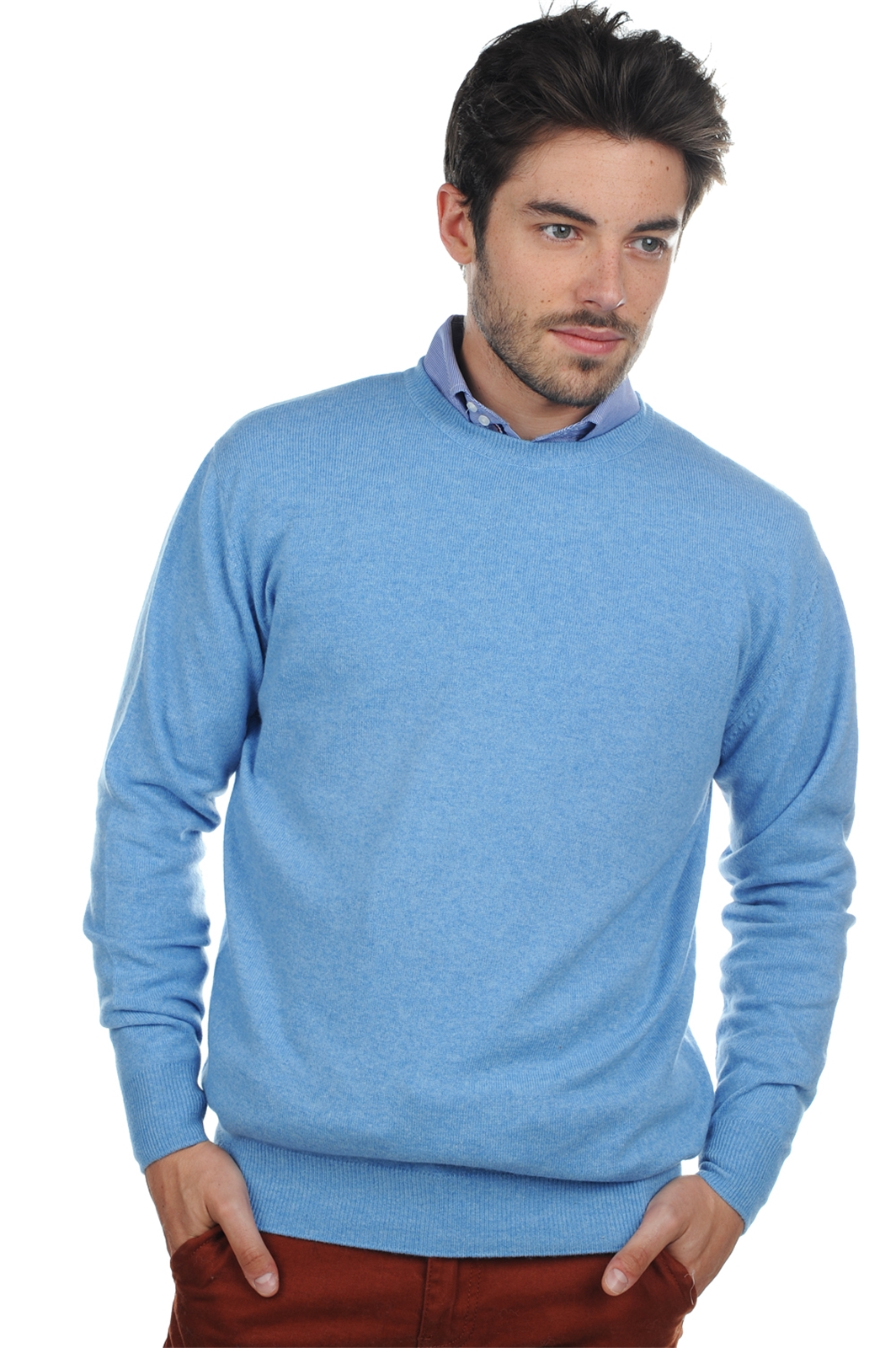 cashmere men round necks nestor azur blue chine m