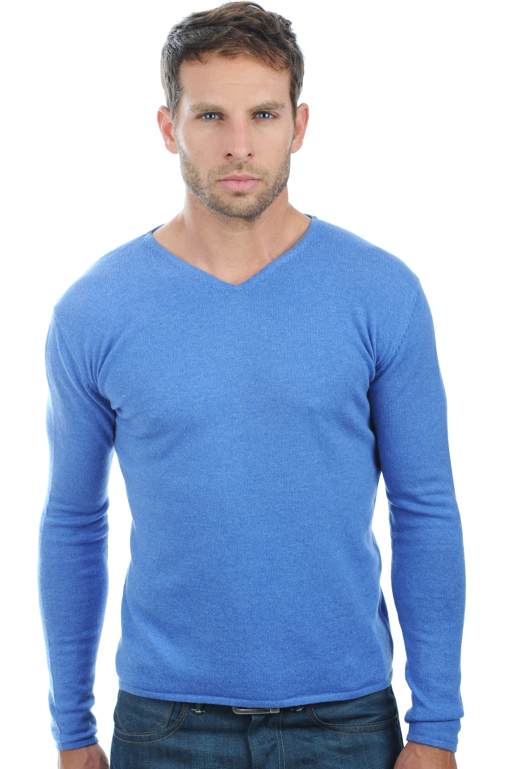 cashmere men v necks arty blue chine m