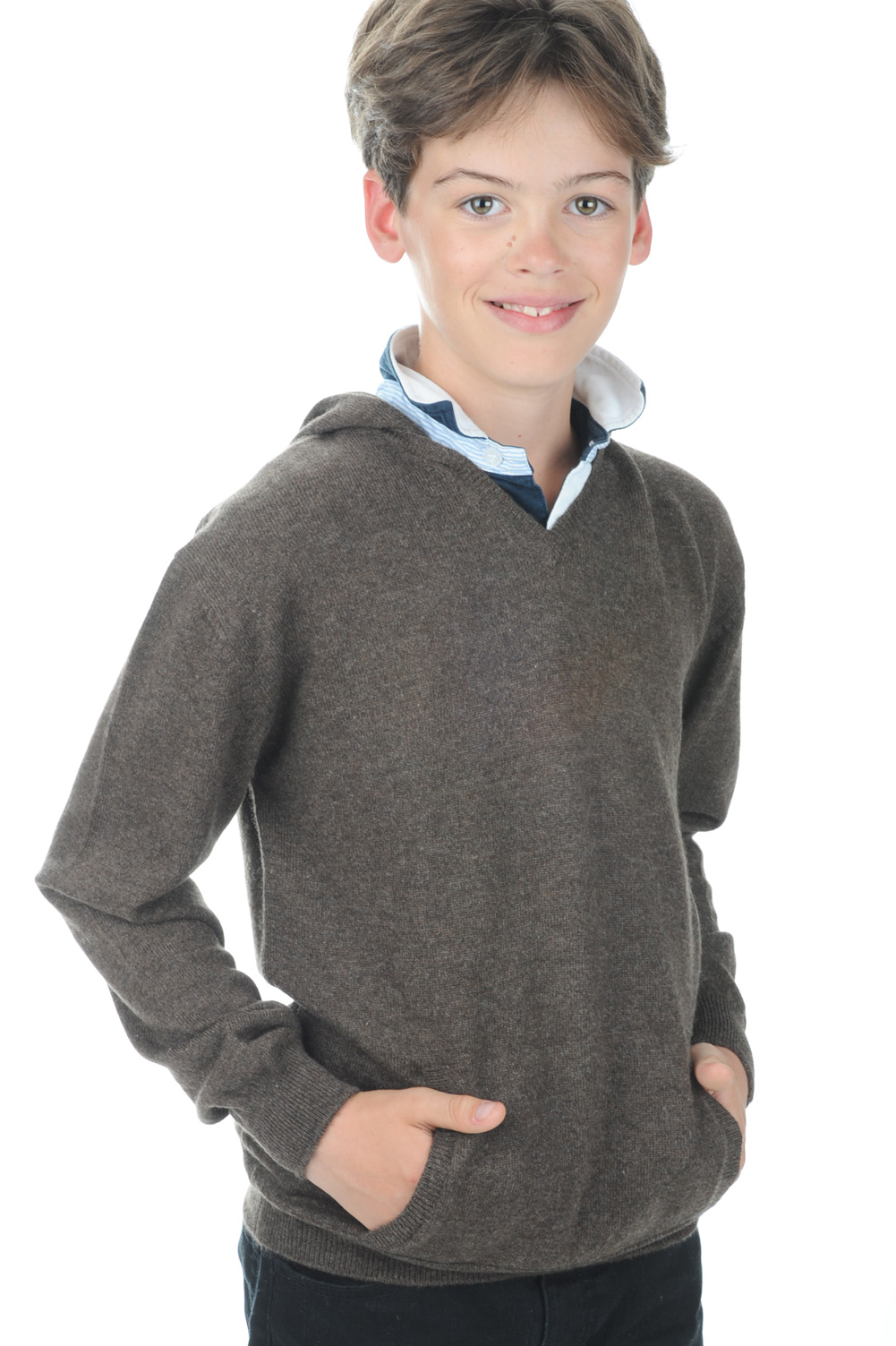 cashmere men v necks cloclo boy marron chine 6