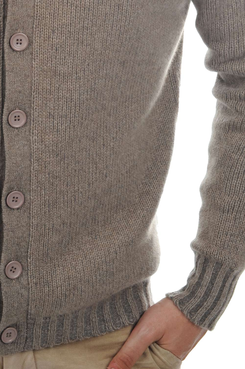 cashmere men waistcoat  sleeveless sweaters jo natural brown dove chine xl