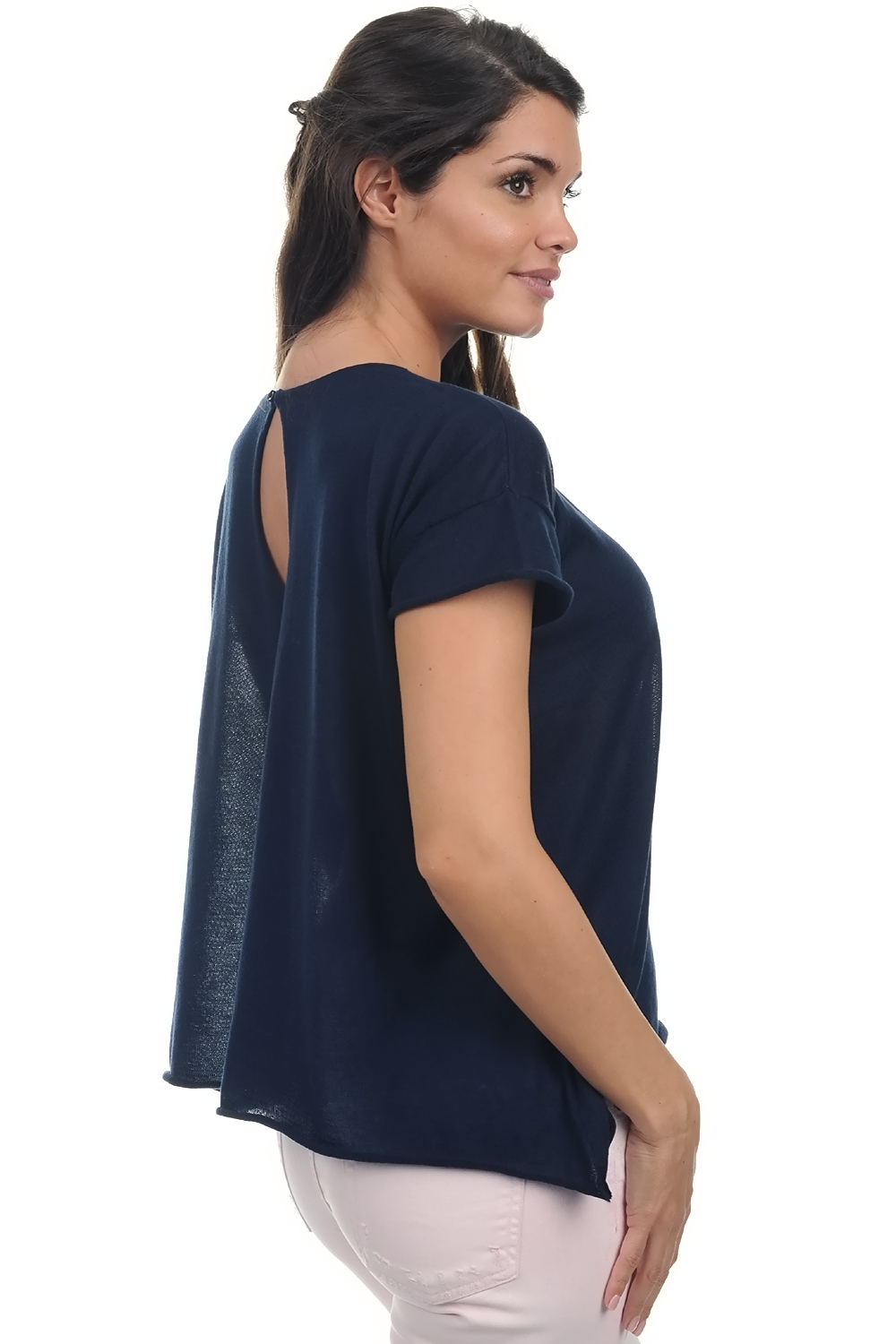 cotton giza 45 ladies round necks kimberley navy s3