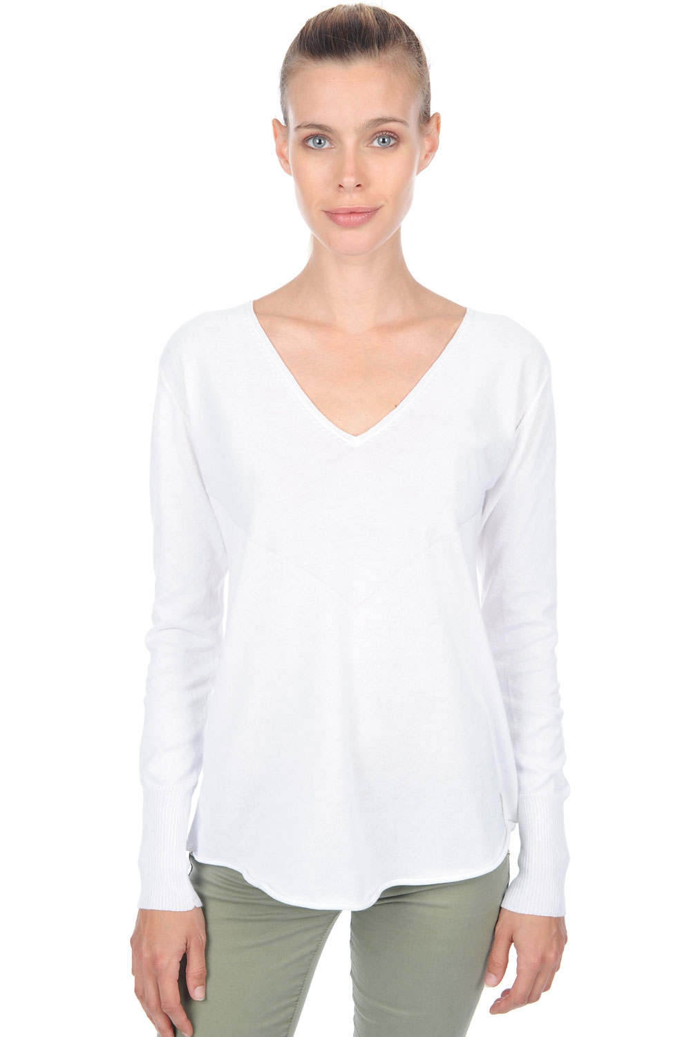 cotton giza 45 ladies v necks lyric white m