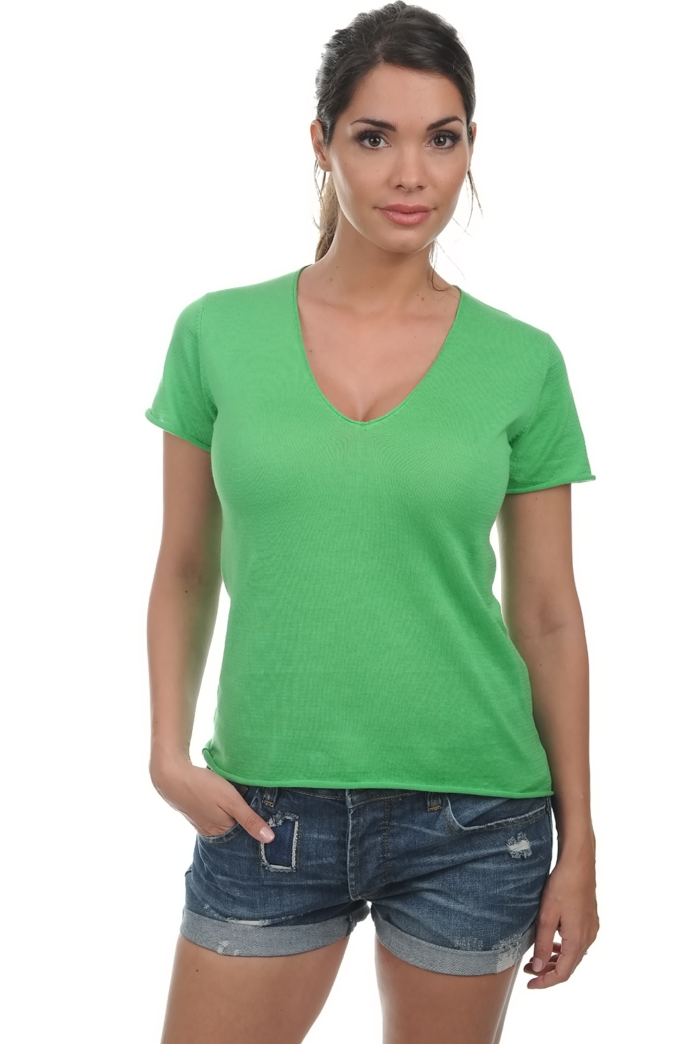 cotton giza 45 ladies v necks orly apple xl